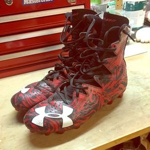 Red and black nike football cleats size 10.5